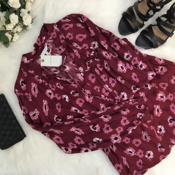 Lucky Brand Tops - Lucky Brand wine floral long sleeve top